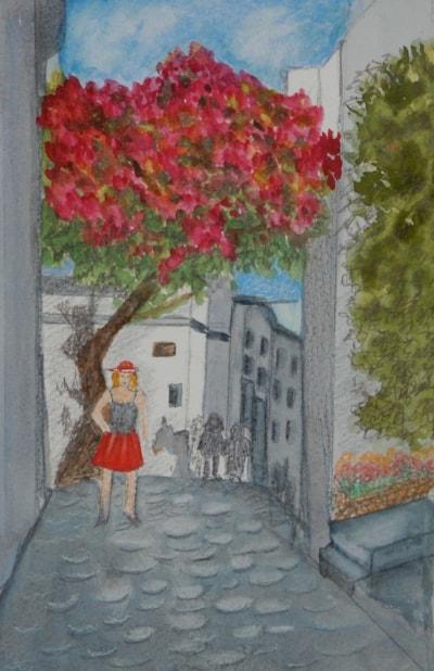 STREET SCENE IN CRETE   watercolour A4