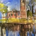 Gawsworth church. Acrylic on 40x30 cm canvas