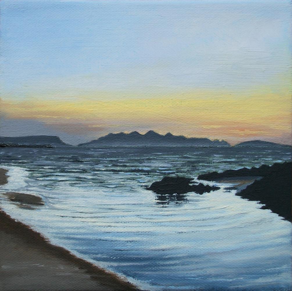 """Camusdarach Sunset, Mallaig 6"""" x 6"""""""