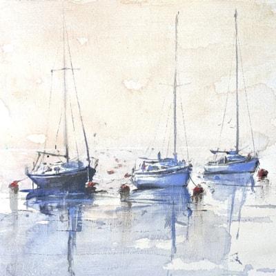 "Yachts in mist, Acrylic on board 8 x 8"""