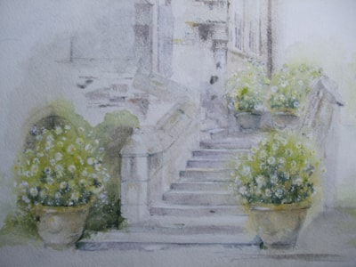 Pots by the steps