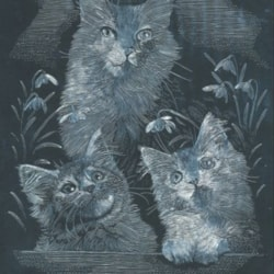 Cats among the flowers