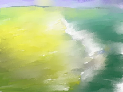 Sea, sand and distant shore
