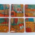 handpainted tiles- orange palette