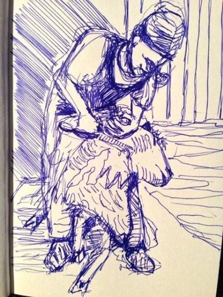 woman shearing