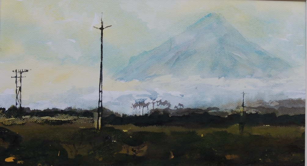 cloud lifting on Mount Taranaki - ink mixed media