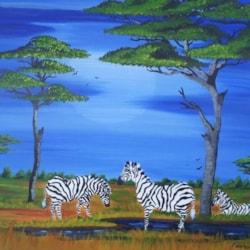 zebra,s by moonlight