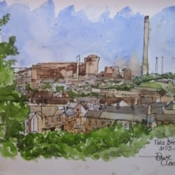 Tata Steel from Tydraw Hill - Ink and wash