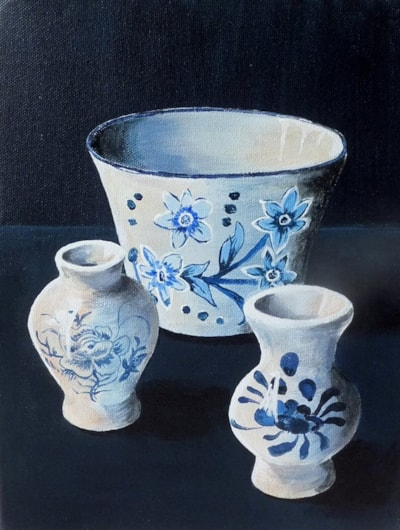 blue and white x 3