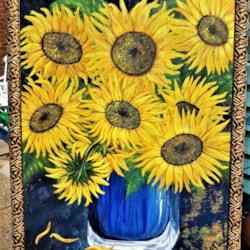 Sunflowers in blue vase - framed