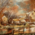Old Barns - Pastel