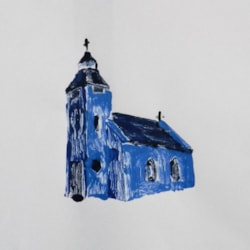 THIS IS THE CHURCH - THIS IS THE STEEPLE - Monoprint Attempt No 5
