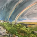 Standing watching a double rainbow on the Roaches, Acrylic Ink on 55x37cm watercolour paper