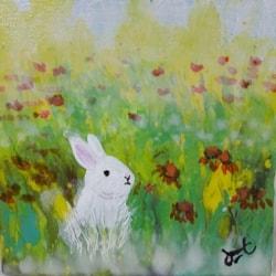 Rabbit in the fleids (Acrylic on canvas board, 6 x 6 inch)