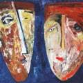 Family portrait in blue oil painting Bogomolnik