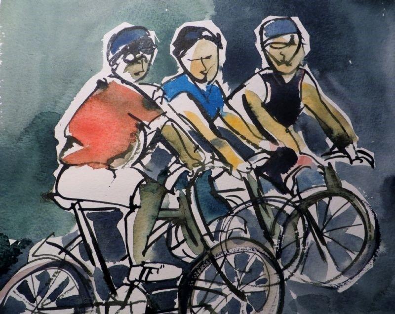 Three men on bikes!