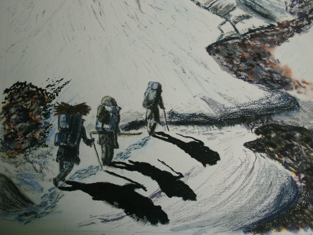 Porters on the Ghondoro Glacier Karacoram Mountains