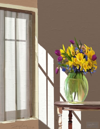 Sun-Splashed Room, With Flowers