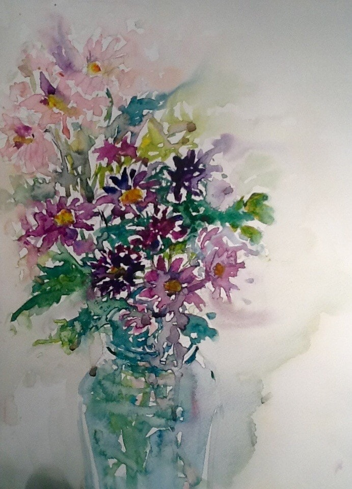 A wee happiness of painting flowers