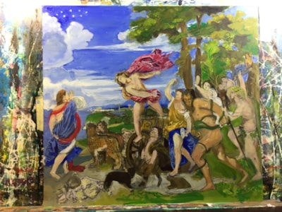 Titchy Titian (Bacchus and Ariadne), copy in progress. session 3
