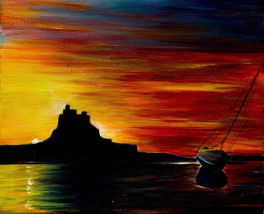 July Challenge. Summer, Sunrise over Lindisfarne