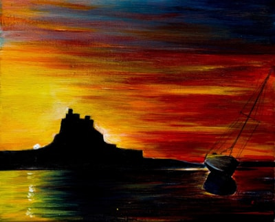 July Challenge. Summer, Sunrise over Lindisfarne