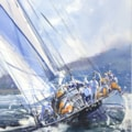 Racing Yacht in the Solent, watercolour