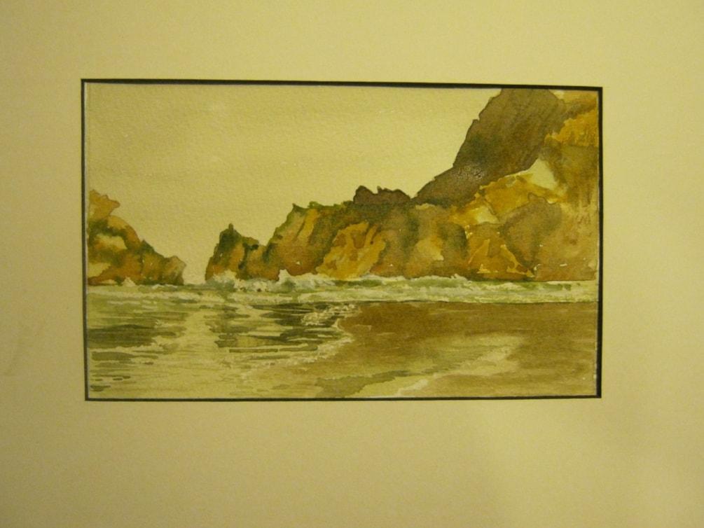 """Castlepoint Beach""  in watercolour"