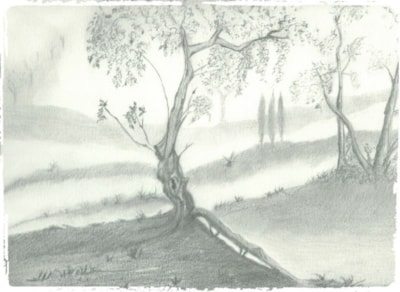 IMPRESSIONISM DRAWING OF OAK TREES AND CYPRESS