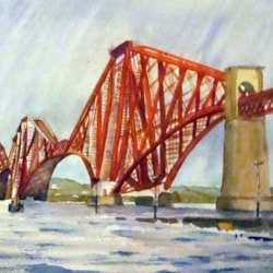 Forth Rail Bridge in rain