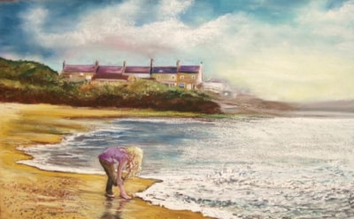Girl looking for crabs on Amble Beach 16 x 20 by Carole D Kelly