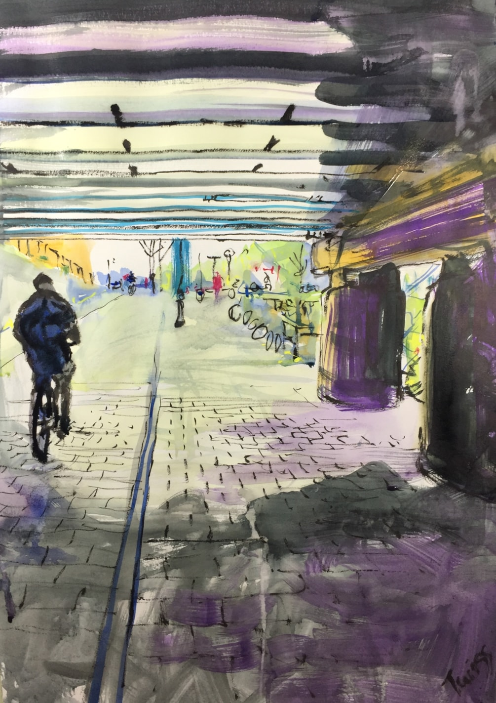 Underpass near Central station Amsterdam, ink on A2