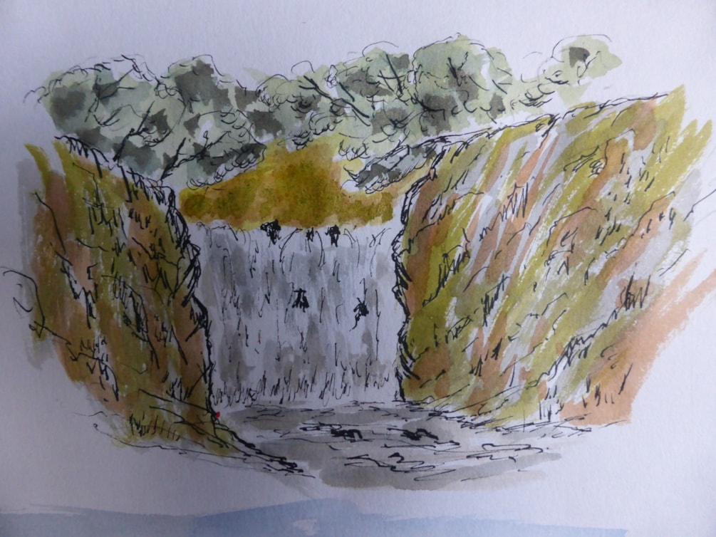 The Falls. Dip pen and wash sketch
