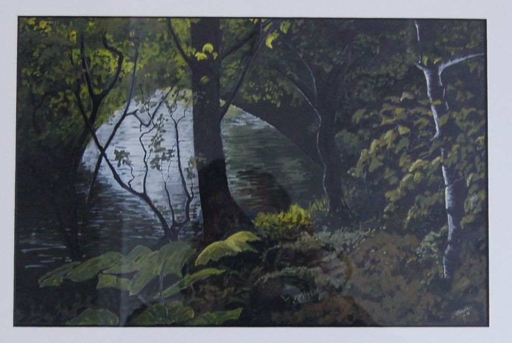"""""""Just so much water under the bridge""""  in gouache on black paper"""