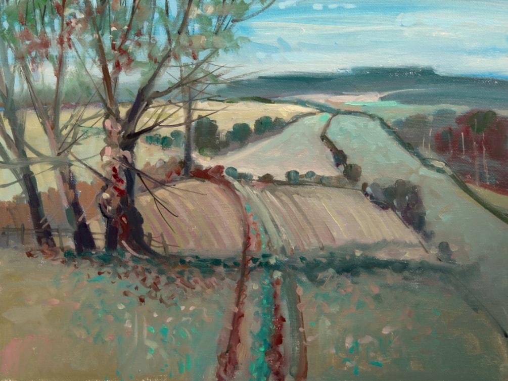 Footpath to Milwich - En-plein-air oil sketch.