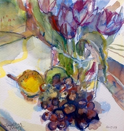 Tulips, grapes and pear