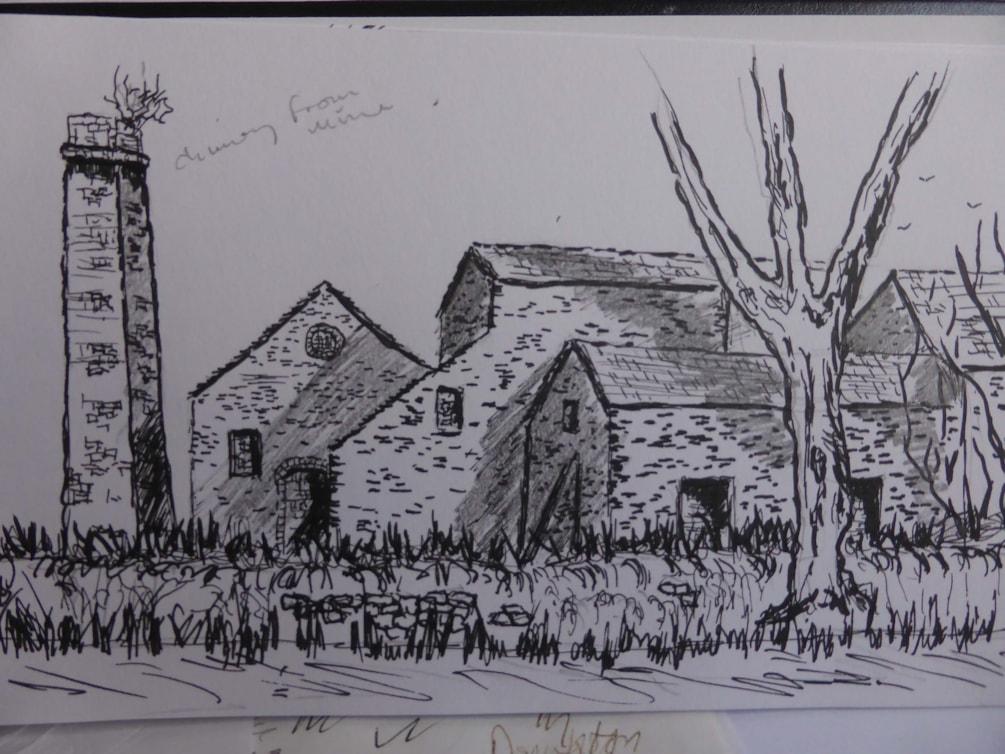 Old Pipe works Haltwhistle Burn. pen and ink sketch en plein air