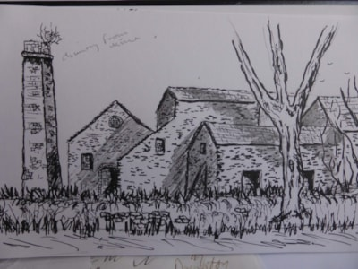Old Pipe works Haltwhistle Burn. pen and ink sketch en plein air