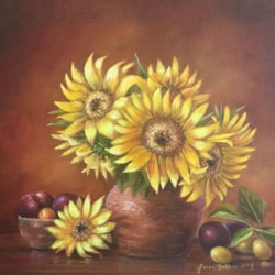 Sunflowers in a Clay Vase - Oils