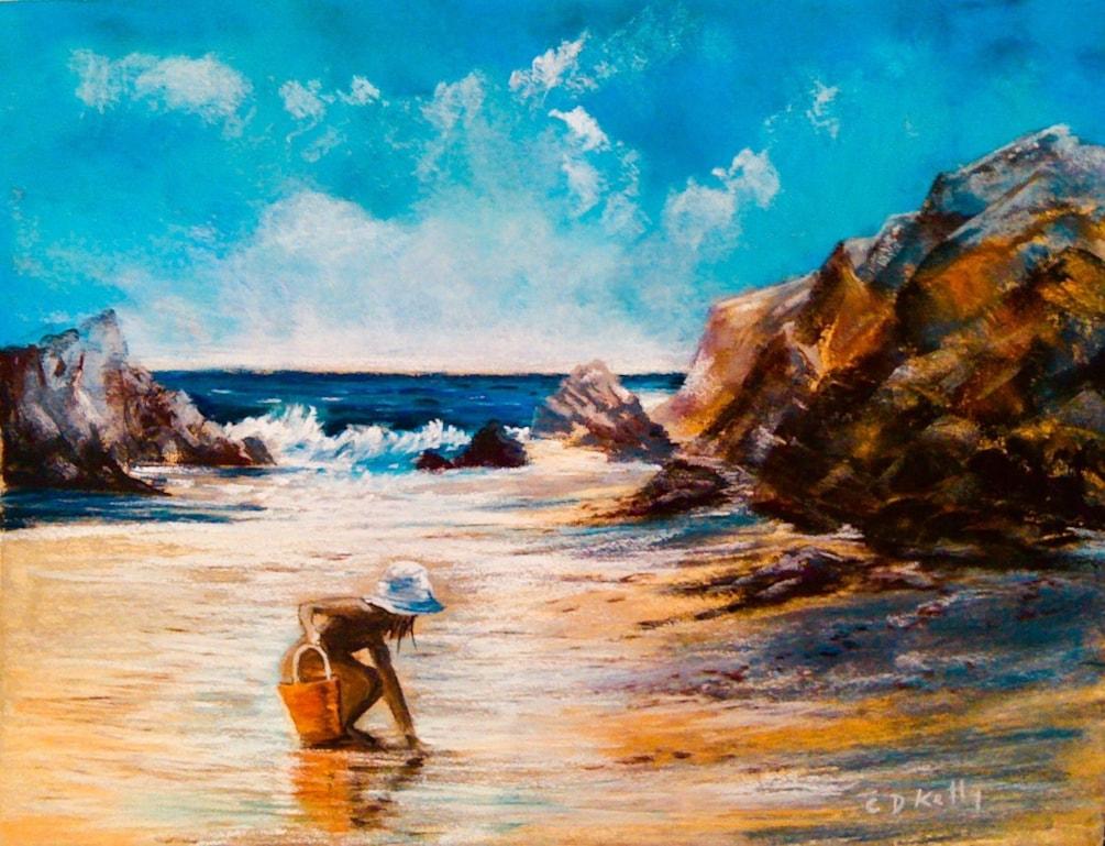 The shell seeker on Amble Beach Northumberland