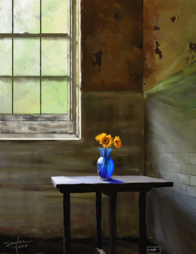 Friendly Sunflowers In A Lonely Room