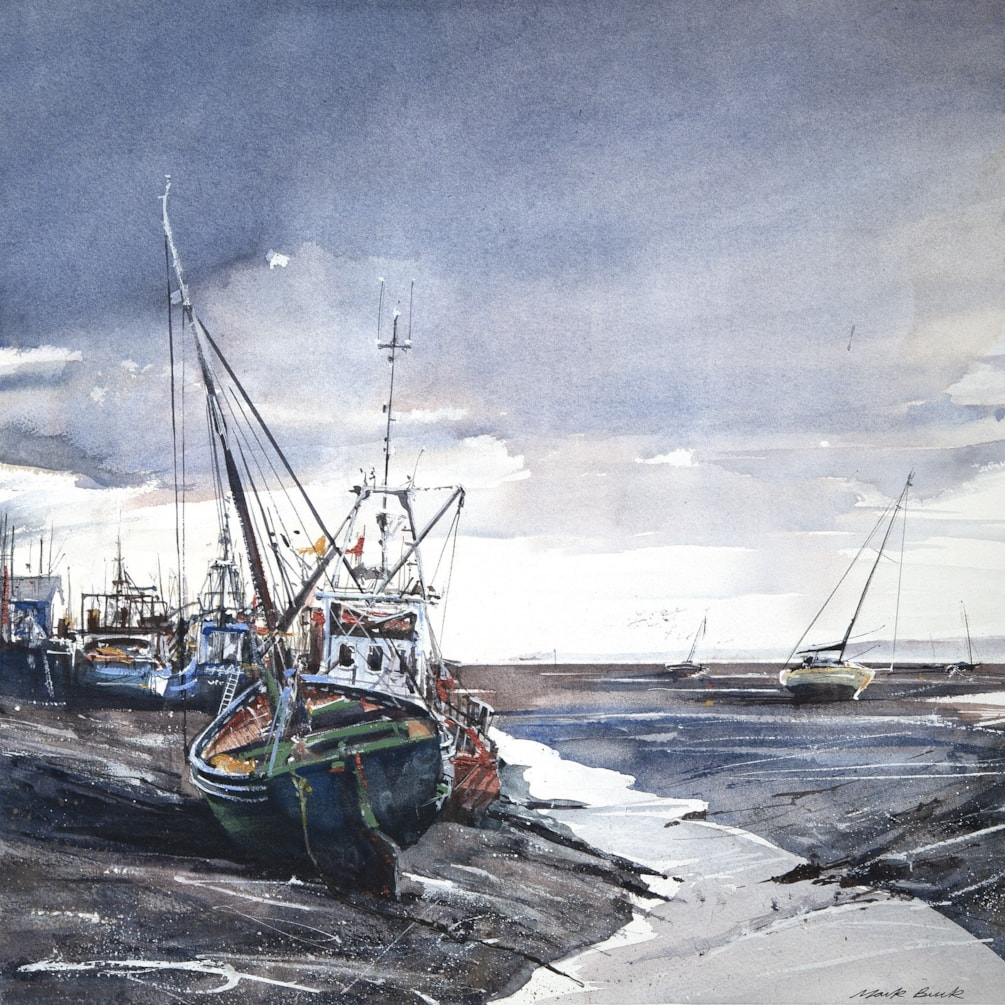 Endeavour, Leigh on Sea Watercolour 45 x 45cm