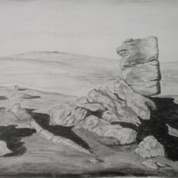 Heckwood Tor, Dartmoor in water soluable charcoal pencils