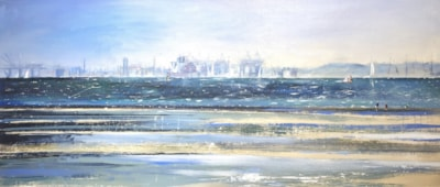 Across the Solent, Oil on board 1.22 x 0.5m
