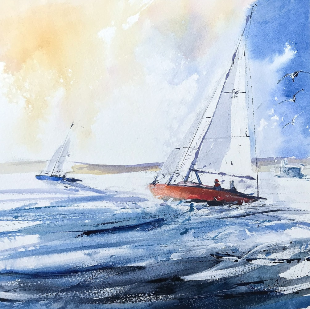 Two Mermaid racing keelboats off Seaview, Isle of Wight, acrylic