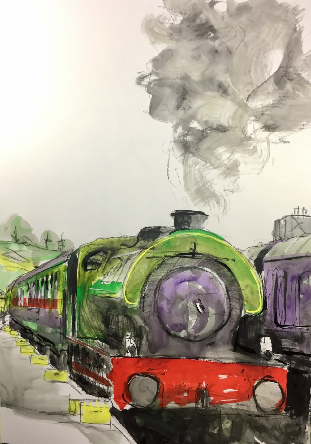 At the station, ink and conte on A2