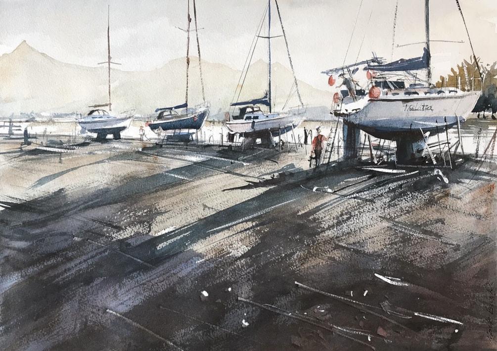 Dry yachts at Porthmadog, watercolour