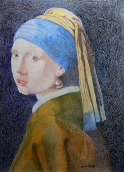 Girl with Pearl Earring a Pencil crayon study