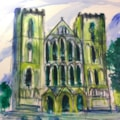 Ripon Cathedral,acrylic on 30x30cm canvas pad