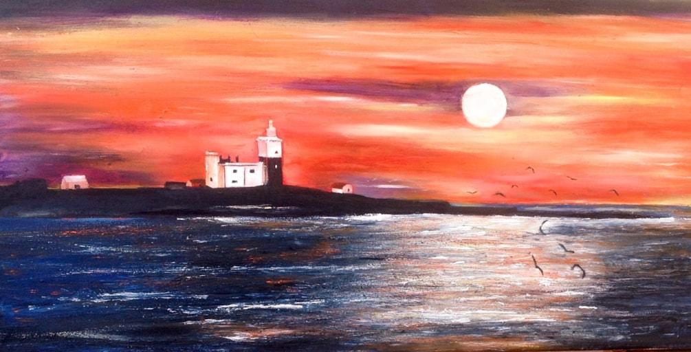 Sunrise over Coquet Island.